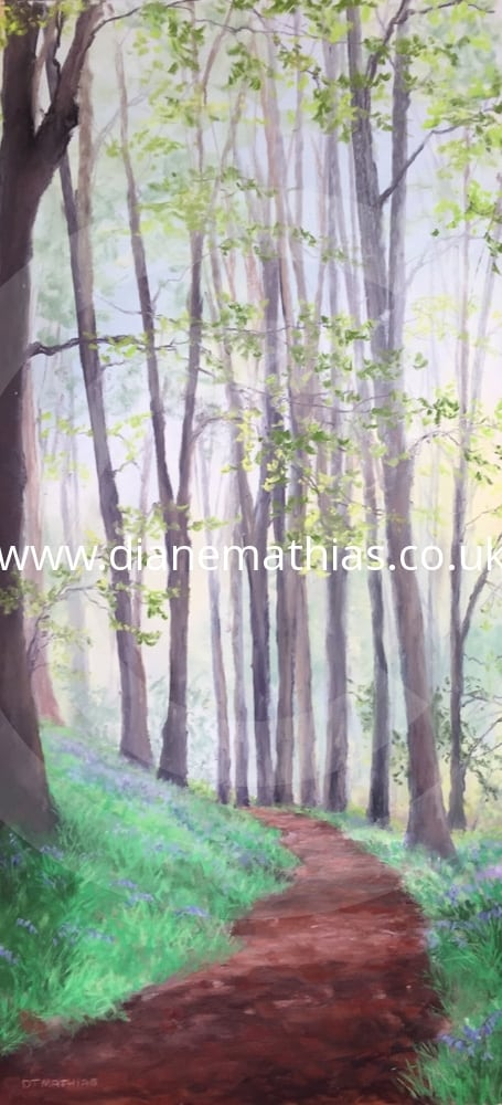 bluebells in henllan woods original pastel diane mathias