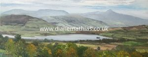 Llangorse Lake and the Brecon Beacons - Original Oil