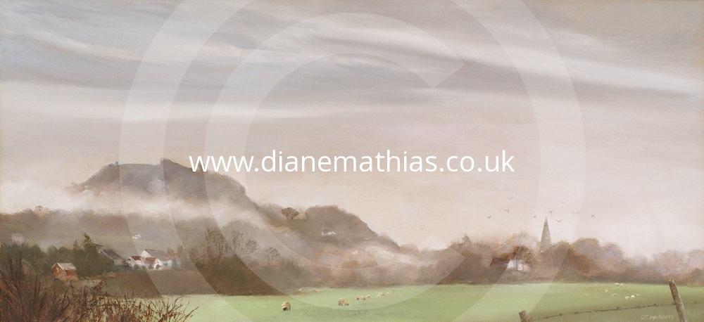 Merlin's Hill in the Mist - Original Oil